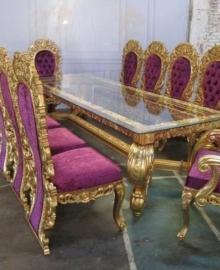 Set Kursi Makan Ukir Mewah Gold